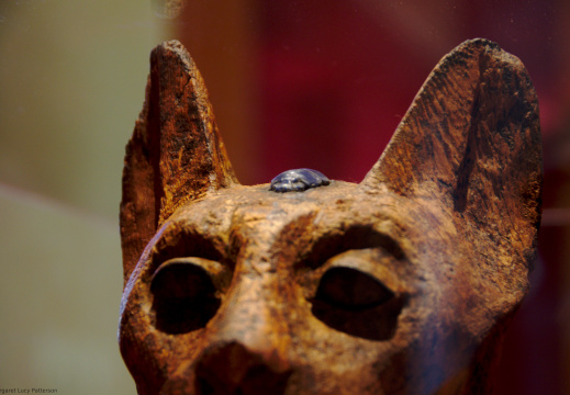 Wooden Statue of a Cat with a Scarab Beetle between Its Ears