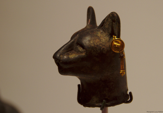 Bronze Head of a Cat with Earrings