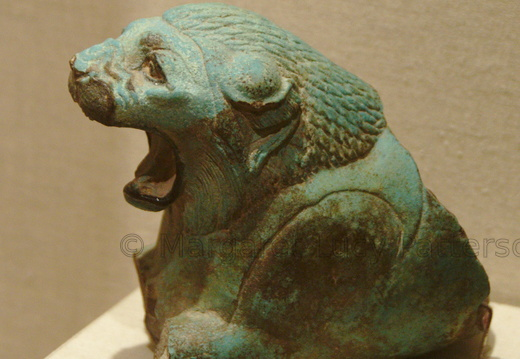 Faience Lion Head from a Ritual Vessel